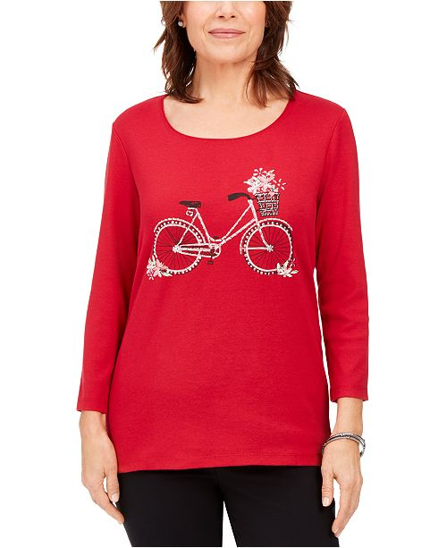 Karen Scott Cotton Embellished Bicycle T-Shirt, Created For Macy's