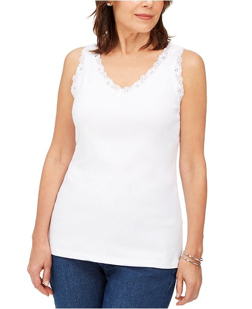 Karen Scott Petite Cotton Lace-Trim Tank Top, Created For Macy's