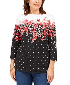 Emily Printed Boat-Neck Top, Created for Macy's