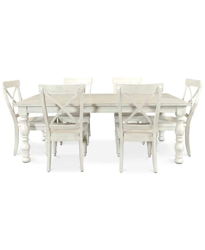 Furniture Aberdeen Worn White Expandable Dining Furniture, 7-Pc. Set (Table & 6 Side Chairs) & Reviews - Furniture - Macy's