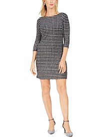 Petite Houndstooth Glitter-Knit Shift Dress