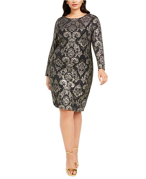 Jessica Howard Plus Size Metallic Knit Sheath Dress