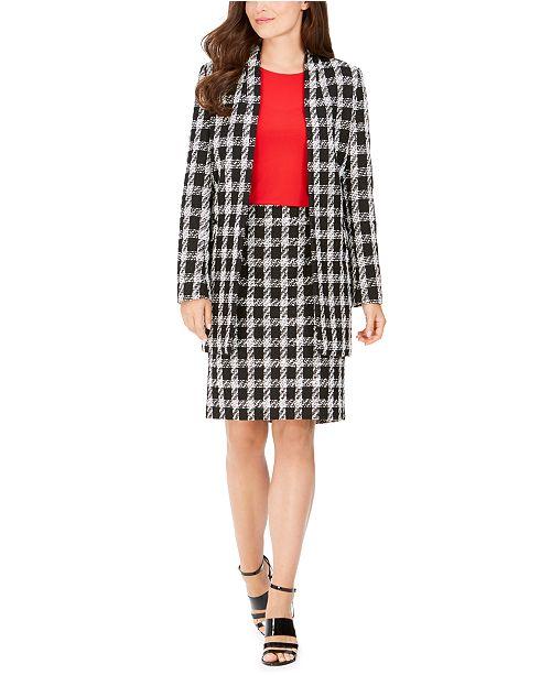 Calvin Klein Checked Tweed Open-Front Topper, Pencil Skirt & Crewneck Blouse