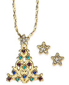 "Gold-Tone Crystal Christmas Tree Pendant Necklace & Stud Earrings Boxed Set, 17"" + 2"" extender, Created for Macy's"