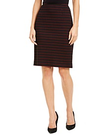 Grid-Print Pencil Skirt