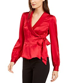 Silk Wrap Peplum Top