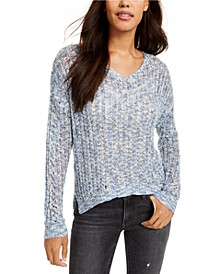 Juniors' Pointelle V-Neck Sweater