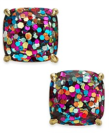 Gold-Tone Rainbow Glitter Small Square Stud Earrings