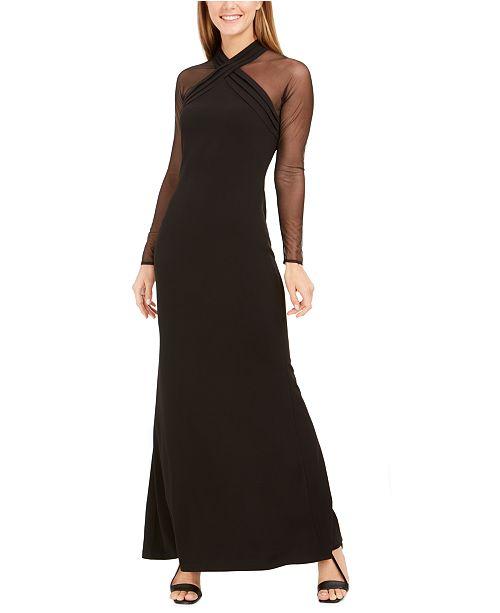 Calvin Klein Illusion Halter Gown