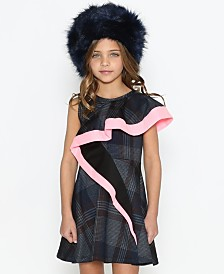 Lanoosh Little Girls Asymmetrical Flare Detail Sleeveless Dress with A Fun Pop Of Pink On The Flare