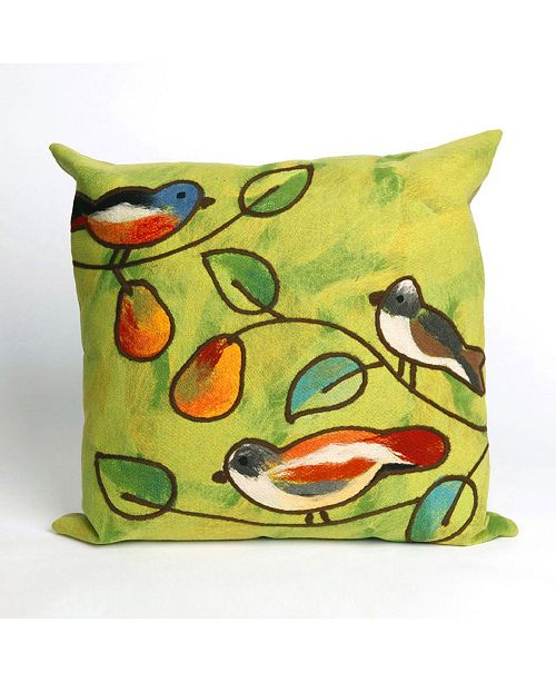 """Liora Manne Visions III Song Birds Indoor, Outdoor Pillow - 20"""" Square"""