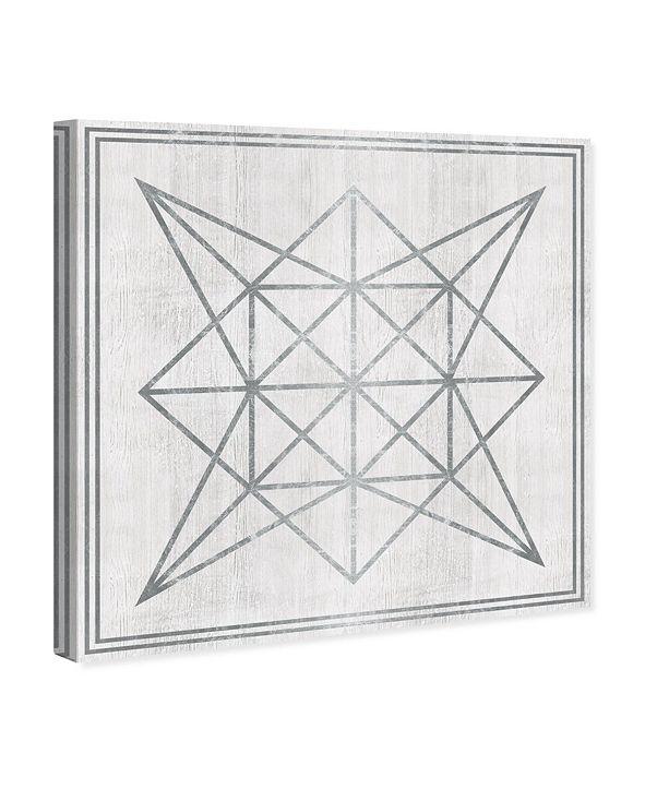 "Oliver Gal Whitewash Wood Geometric Star Canvas Art, 16"" x 16"""