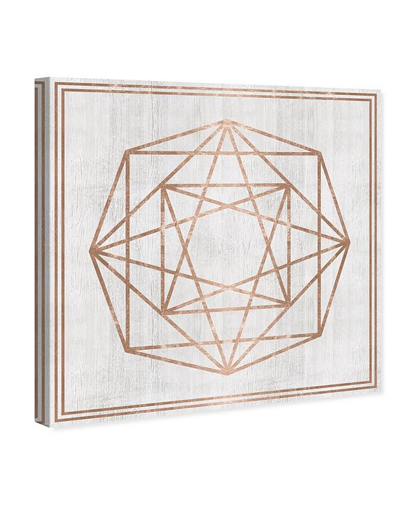 "Oliver Gal Whitewash Wood Geometric Octagon Canvas Art, 43"" x 43"""