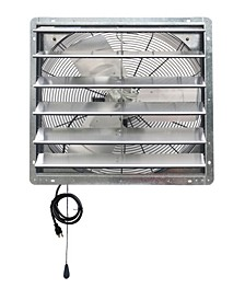 "24"" Shutter Exhaust Attic Garage Grow Fan, Ventilation Fan with 2 Speed Thermostat"