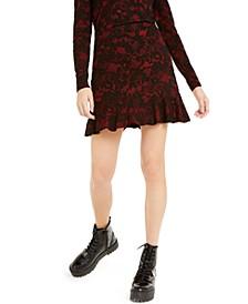 Lace-Print Ruffle-Hem Skirt, Regular & Petite