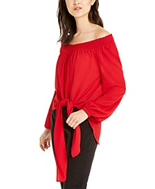 Tie-Front Smocked Off-The-Shoulder Top