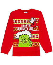 Big Boys The Grinch Naughty List Holiday Sweatshirt