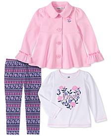 Toddler Girls 3-Pc. Fleece Jacket, Love Top & Printed Leggings Set