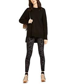 Cable-Knit Sweater & Velvet Leggings