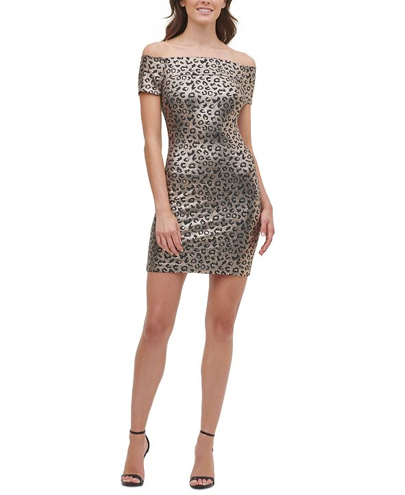 GUESS Off-The-Shoulder Animal-Print Dress