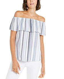 INC Ruffled Rainbow Off-The-Shoulder Top, Created for Macy's