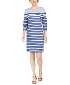 Sport Striped Grommet-Shoulder Shift Dress, Created For Macy's