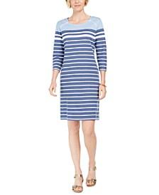 Sport Striped Grommet-Shoulder Shift Dress, Created for Macy's