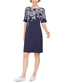 Printed Boat-Neck Dress, In Regular and Petite, Created for Macy's
