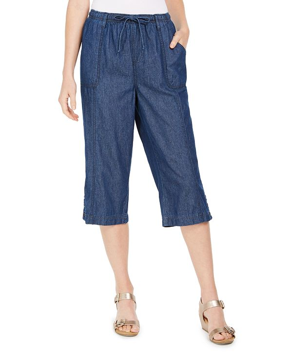 Karen Scott Cotton Denim Capri Pull-On Jeans, Created for Macy's