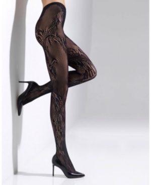 Natori Women's Feather Lace Net Tights Hosiery In Black