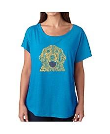 Women's Dolman Cut Word Art Shirt - Dog