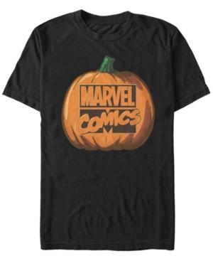 Marvel Men's Comic Logo Carved Pumpkin Short Sleeve T-Shirt