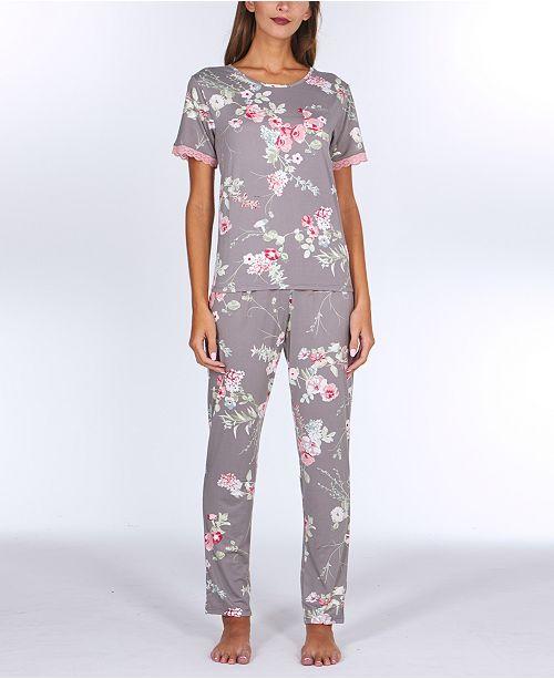 Flora by Flora Nikrooz Patricia Printed Knit Pajama Set
