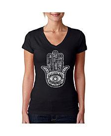 LA Pop Art Women's Word Art V-Neck T-Shirt - Hamsa