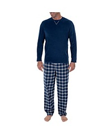 Men's Microfleece Crew Neck Top Flannel Pant Set
