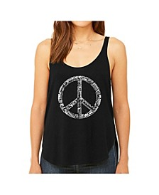 Women's Premium Word Art Flowy Tank Top- The Word Peace In 77 Languages