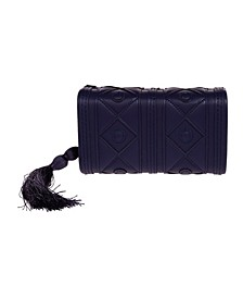 Faux Leather Diamond Pattern Box Clutch with Tassel