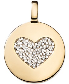 Swarovski Zirconia Heart Charm Pendant in 14k Gold-Plated Sterling Silver