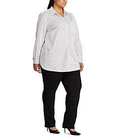 Plus Size Box-Pleated Cotton Shirt
