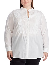 Plus Size Pleated-Bib Button-Up Shirt