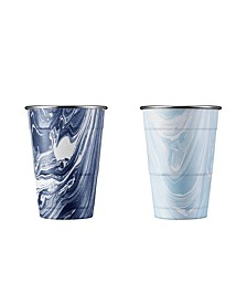 Navy and Light Blue Swirl 18 oz Party Cups - Set of 2