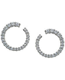 "Cubic Zirconia Front & Back Extra-Small Hoop Earrings in Sterling Silver, .5"", Created For Macy's"