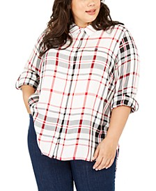 Plus Size Plaid Button-Front Roll-Tab-Sleeve Top