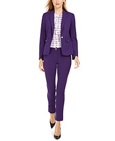 One-Button Blazer, Printed Pleat-Neck Top & Highline Skinny Pants