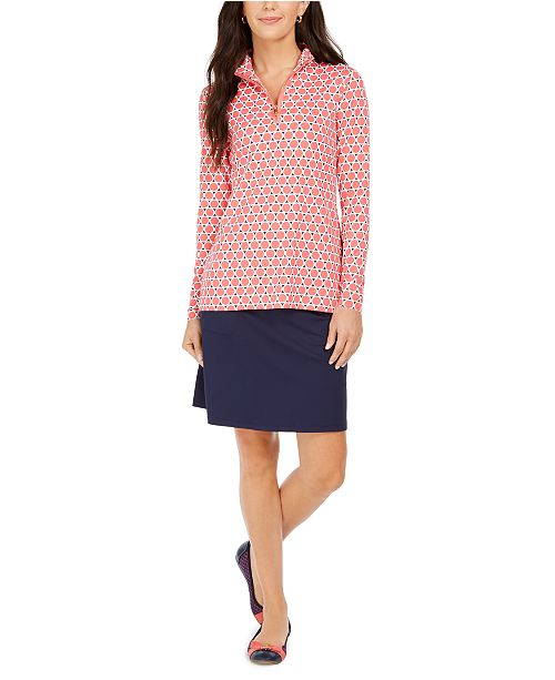 Charter Club Long-Sleeve Circle Print Top and A-Line Skort, Created for Macy's