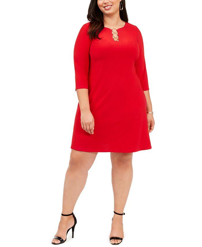 MSK - Plus Size Three-Ring Dress