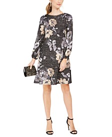 Petite Metallic Floral-Print Dress