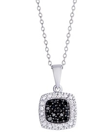 Black and White Diamond 1/4 ct. t.w.  Cushion Square Pendant Necklace in Sterling Silver