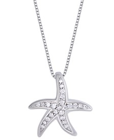 Diamond 1/6 ct. t.w. Starfish Pendant Necklace in Sterling Silver