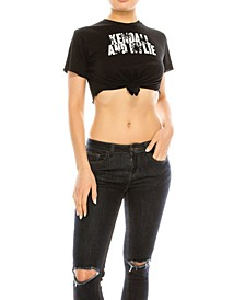 Crew Neck Tied Up Crop Top Tee